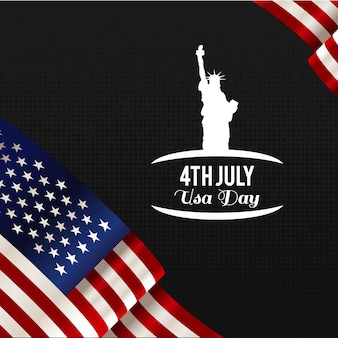 Happy 4th of july independence day vector ontwerp op zwarte achtergrond juli vierde