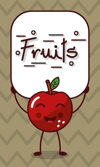 Happy apple kawaii cartoon met fruit teken