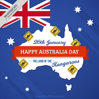 Happy australia day achtergrond met kangoeroes signalen