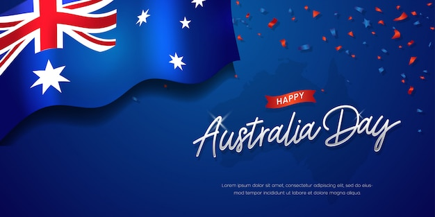 Happy australia day celebration poster of banner achtergrond met vlag