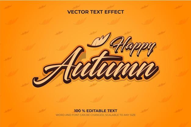 Happy autumn bewerkbaar 3d-teksteffect met gedroogde bladeren backround-stijl