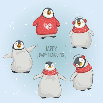 Happy baby penguins in de kerst