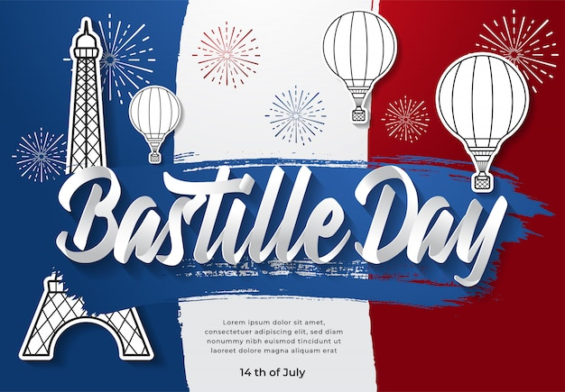 Happy bastille day illustratie