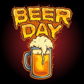 Happy beer day glass mascot vector illustraties voor uw werk logo, mascotte merchandise t-shirt, stickers en labelontwerpen, poster, wenskaarten reclame bedrijf of merken.