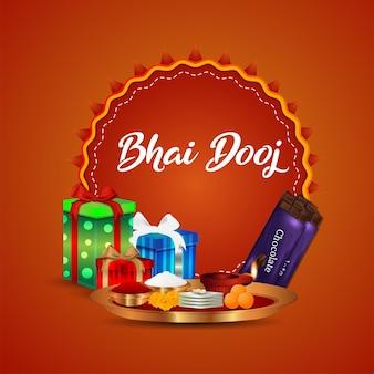 Happy bhai dooj uitnodiging wenskaart met creatieve vectorillustratie