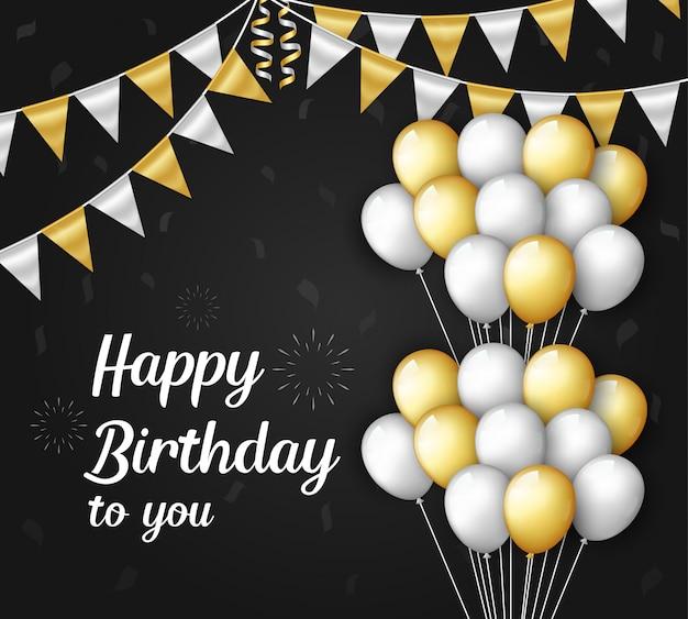 Happy birthday achtergrond met ballonnen en vlaggen decoraties
