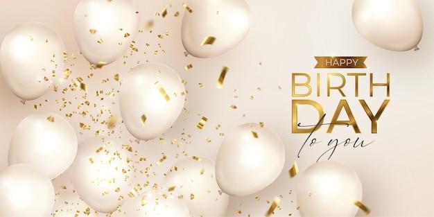 Happy birthday achtergrond met witte realistische ballonnen