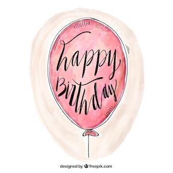 Happy birthday aquarel ballon achtergrond