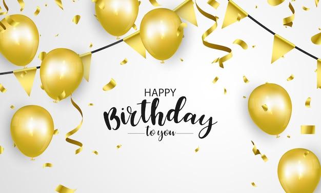 Happy birthday ballonnen gouden viering achtergrond met confetti.
