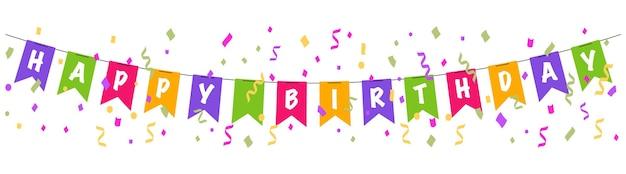 Happy birthday banner kleurrijke bunting vlaggen met confetti en linten