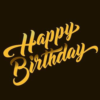 Happy birthday hand belettering tekst. handgemaakte kalligrafie