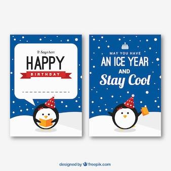 Happy birthday kaart met pinguïns