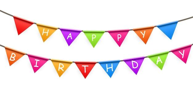 Happy birthday party achtergrond met vlaggen vectorillustratie. eps10