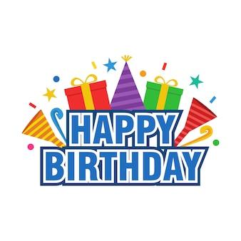 Happy birthday tekst vector ontwerp