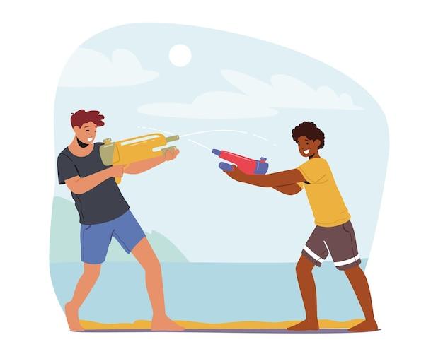 Happy boys summer game, tieners spelen, schieten met waterpistolen bij warm weer. kinderen vrienden tekens spatten op straat. zomer vreugde activiteit, recreatie. cartoon mensen vectorillustratie