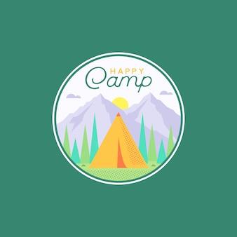 Happy camp en een adventure badge, sticker, patch outdoor design