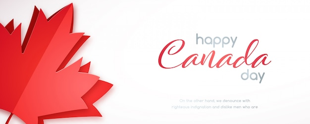 Happy canada day horizontale banner met rood esdoornblad.