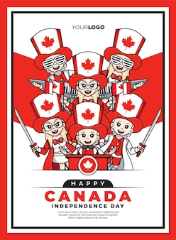 Happy canada onafhankelijkheidsdag poster sjabloon met schattige stripfiguur