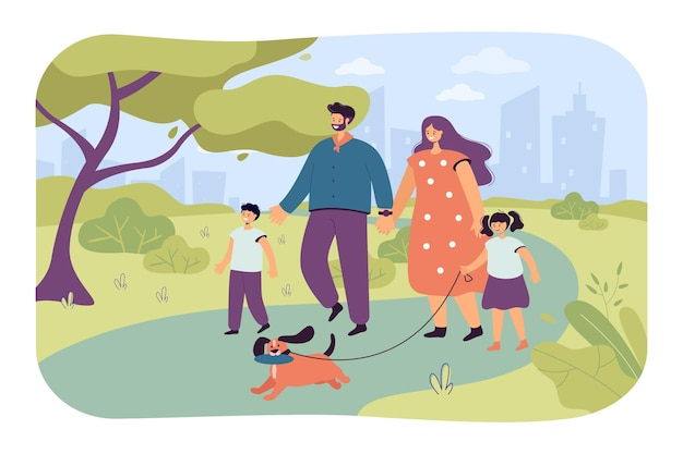 Happy cartoon familie wandelende hond in park samen. platte vectorillustratie