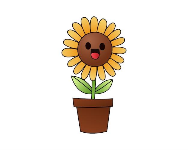 Happy cartoon gele zonnebloem glimlachend op wit.