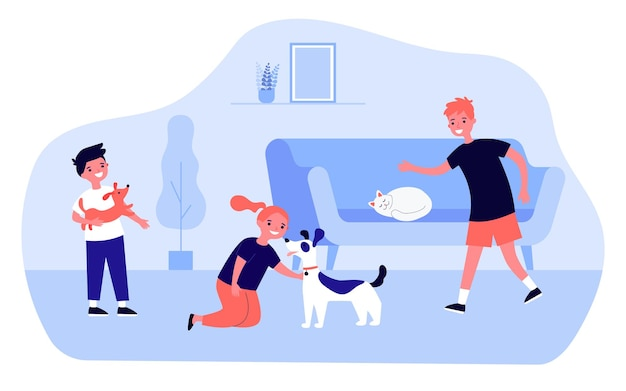 Happy cartoon kinderen spelen met schattige honden en katten thuis. meisje aaien hond, kat slapen op sofa platte vectorillustratie. huisdieren, vriendschapsconcept voor banner, websiteontwerp of landingswebpagina