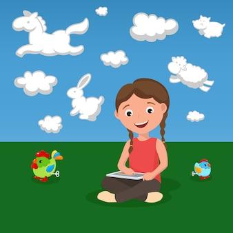 Happy cartoon meisje met datatablet en speelgoed op groen gras