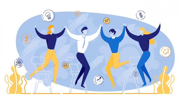 Happy cartoon mensen houden handen zakelijke bijeenkomst