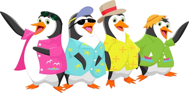 Happy cartoon pinguin op een zomervakantie