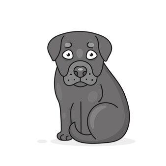Happy cartoon puppy zittend