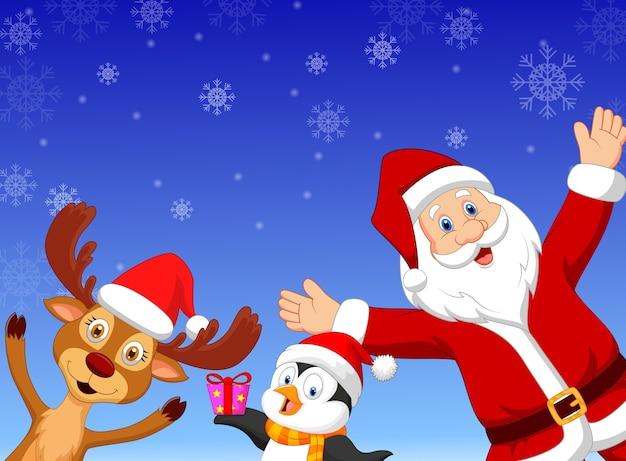Happy cartoon santa met pinguïn en herten