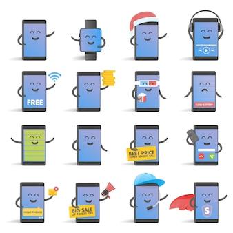 Happy cartoon slimme telefoon tekenset, geweldig voor uw ontwerp.