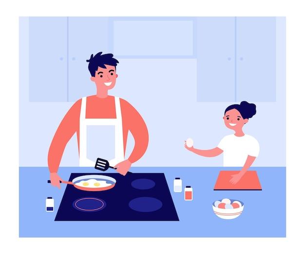 Happy cartoon vader en dochter samen gebakken eieren maken. man frituren eieren in pan, klein meisje helpen papa platte vectorillustratie. familie, ouderschap, voedselconcept voor banner of bestemmingswebpagina