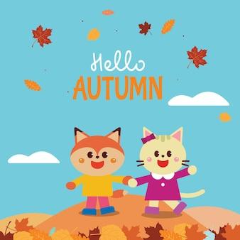 Happy cartoon vos en kat zeggen hallo herfst kaart illustratie vector ontwerp