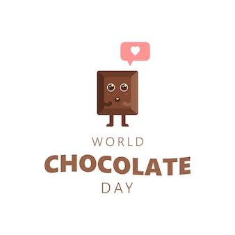 Happy chocolate day cute cartoon liefde