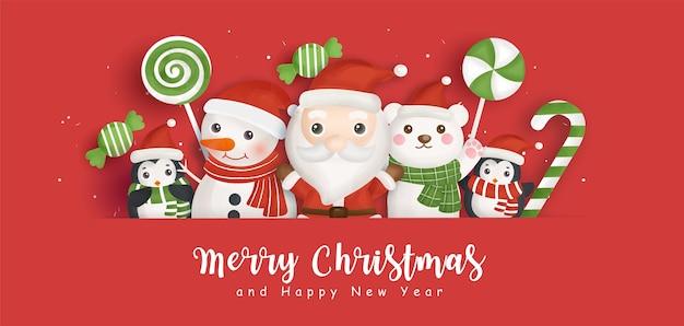 Happy christmas achtergrond met de kerstman en vrienden.