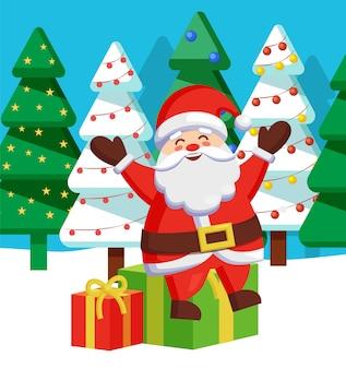 Happy christmas holidays, santa claus met geschenken