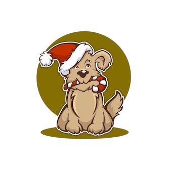 Happy christmas hond, nieuwjaar dierensymbool Premium Vector
