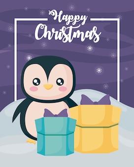 Happy christmas pinguïn en geschenkdozen