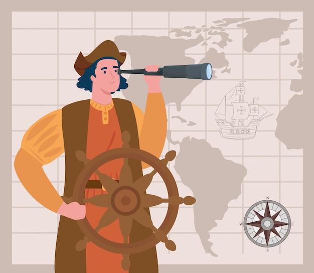 Happy columbus day national usa holiday, en christopher columbus met telescoop vector illustratie ontwerp