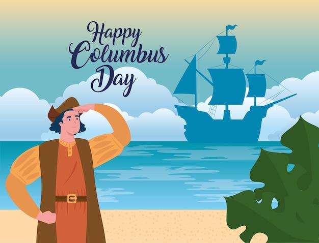 Happy columbus day national usa holiday, met christopher columbus kijken op het strand vector illustratie ontwerp