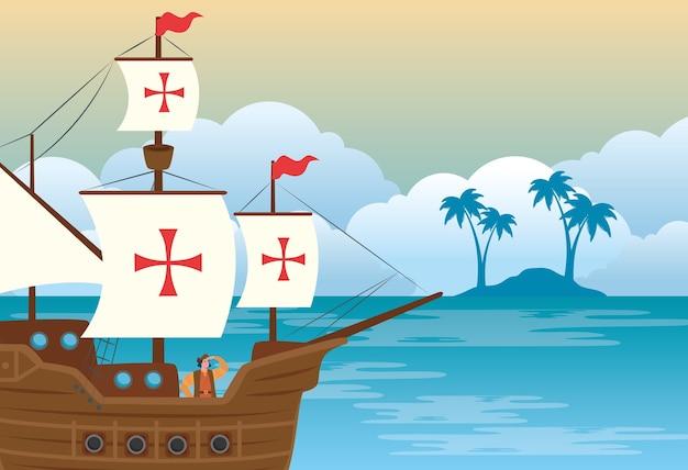 Happy columbus day national usa holiday, met schip carabela op zee vector illustratie ontwerp