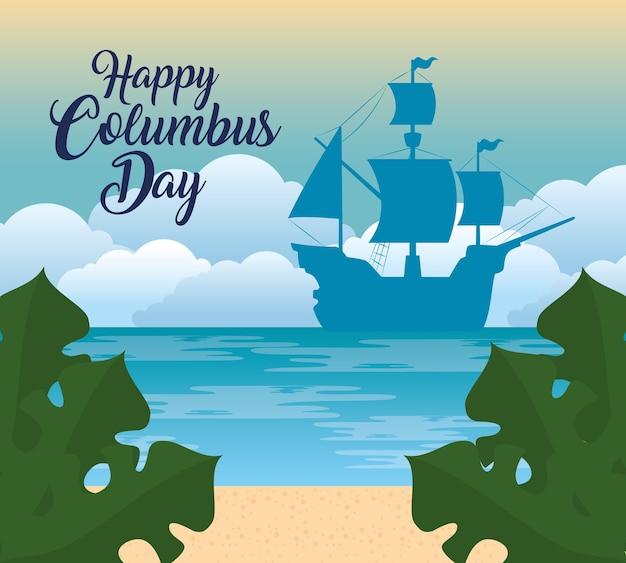 Happy columbus day national usa holiday, met silhouet van carabela vector illustratie ontwerp