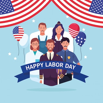 Happy dag van de arbeid-kaart, usa vakantie