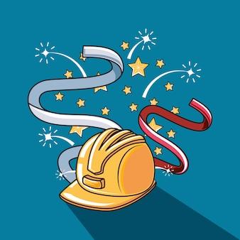 Happy dag van de arbeid label met helm beveiliging