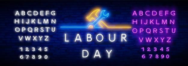 Happy dag van de arbeid neon stijl en alfabet