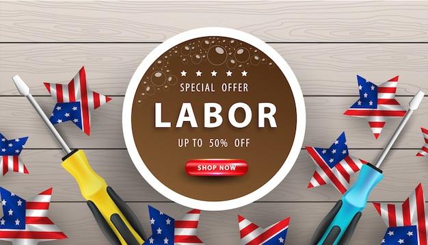 Happy dag van de arbeid poster. dag van de arbeid van de vs viering op houten achtergrond