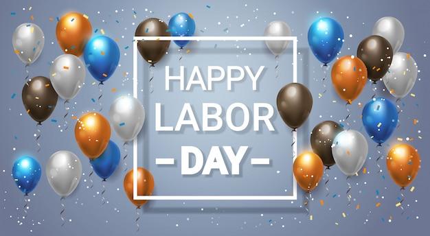 Happy dag van de arbeid vakantie belettering met ballonnen voor viering