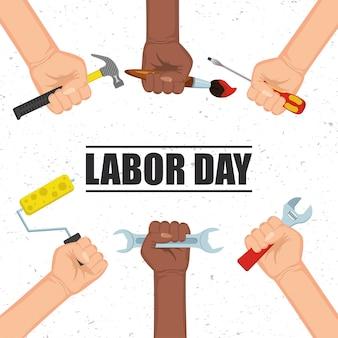 Happy dag van de arbeid viering met handen en tools