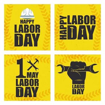 Happy dag van de arbeid viering met set pictogrammen