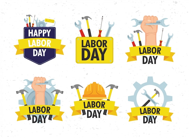 Happy dag van de arbeid viering met set tools
